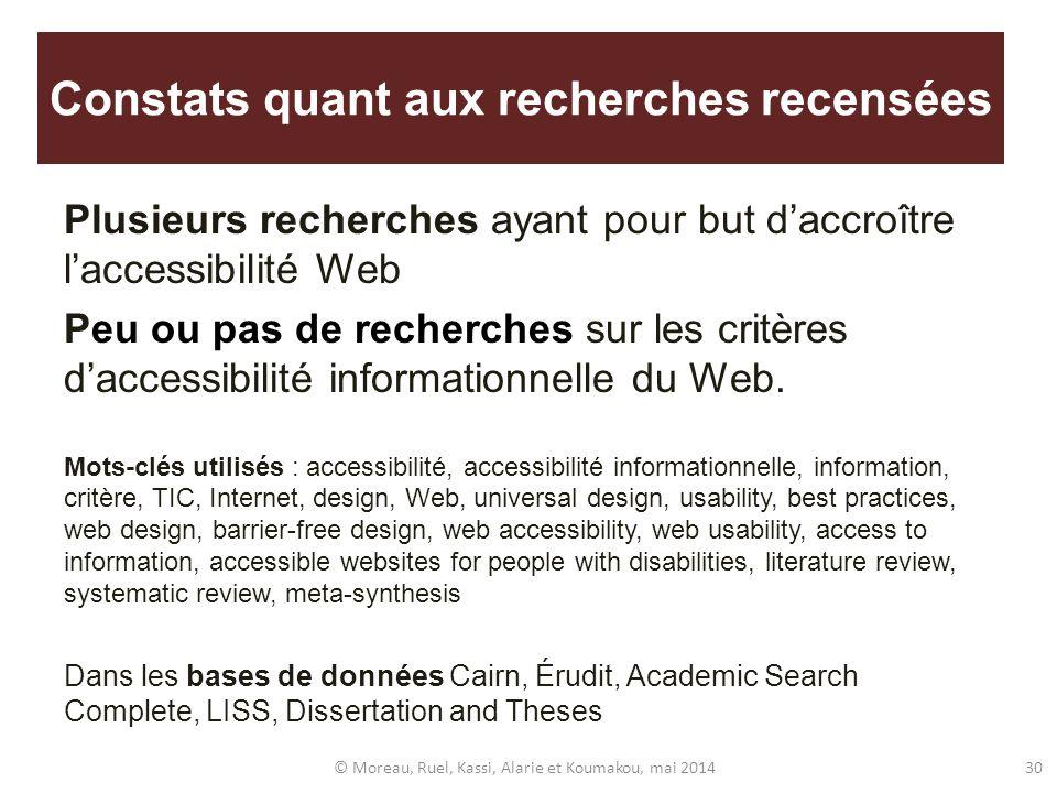 Constats quant aux recherches recensées Plusieurs recherches ayant pour but daccroître laccessibilité Web Peu ou pas de recherches sur les critères da