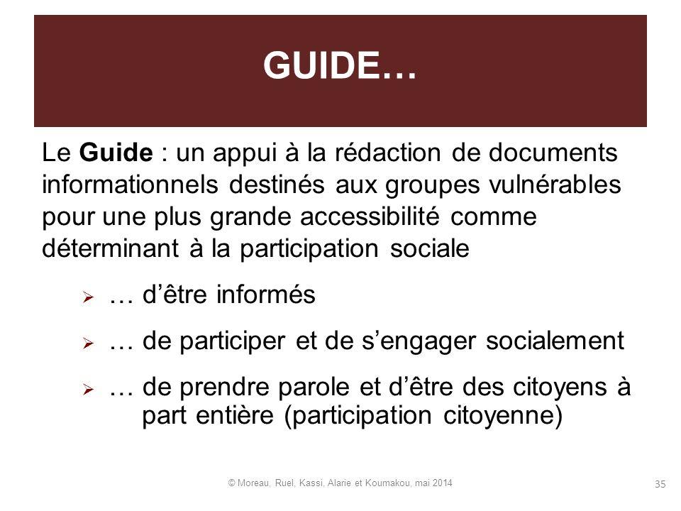 Le Guide : un appui à la rédaction de documents informationnels destinés aux groupes vulnérables pour une plus grande accessibilité comme déterminant