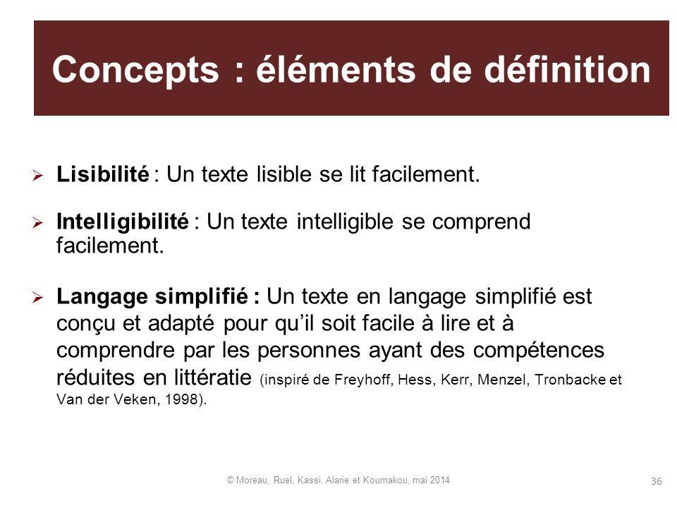 36 Concepts : éléments de définition Lisibilité : Un texte lisible se lit facilement. Intelligibilité : Un texte intelligible se comprend facilement.
