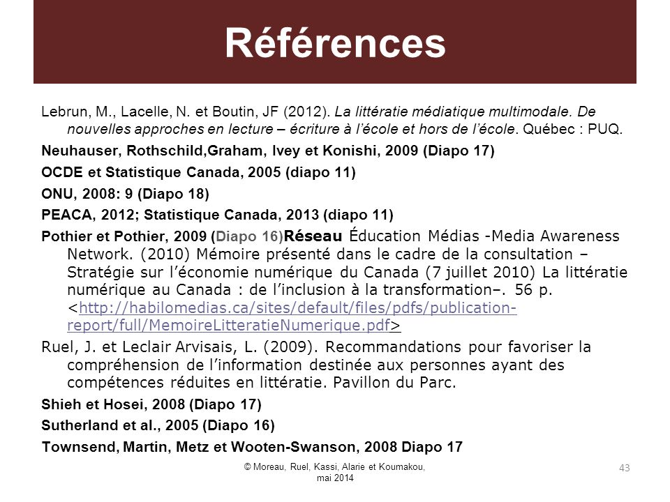 Lebrun, M., Lacelle, N. et Boutin, JF (2012). La littératie médiatique multimodale. De nouvelles approches en lecture – écriture à lécole et hors de l