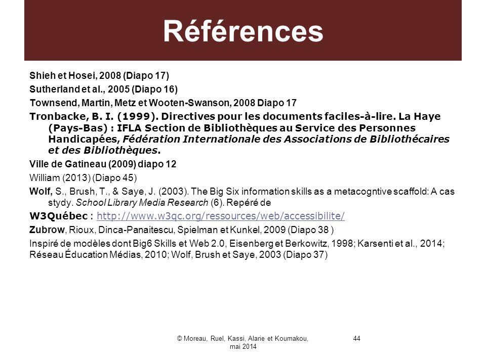 Shieh et Hosei, 2008 (Diapo 17) Sutherland et al., 2005 (Diapo 16) Townsend, Martin, Metz et Wooten-Swanson, 2008 Diapo 17 Tronbacke, B. I. (1999). Di