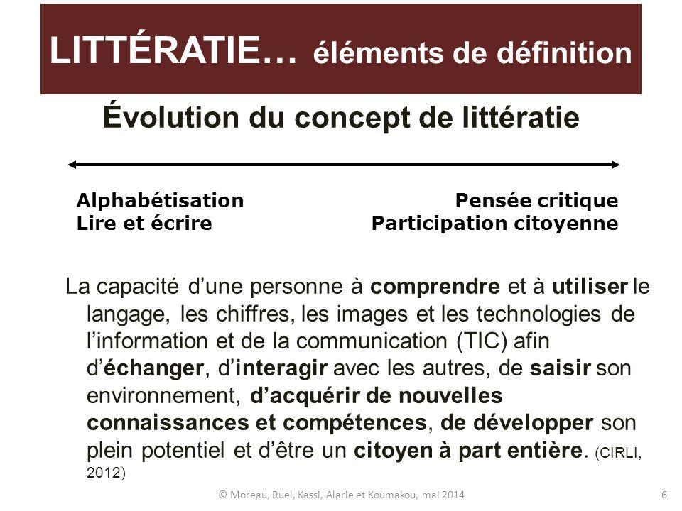 Évolution du concept de littératie La capacité dune personne à comprendre et à utiliser le langage, les chiffres, les images et les technologies de li