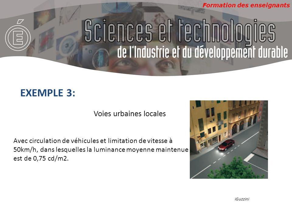 Formation des enseignants EXEMPLE 3: Voies urbaines locales Avec circulation de véhicules et limitation de vitesse à 50km/h, dans lesquelles la luminance moyenne maintenue est de 0,75 cd/m2.
