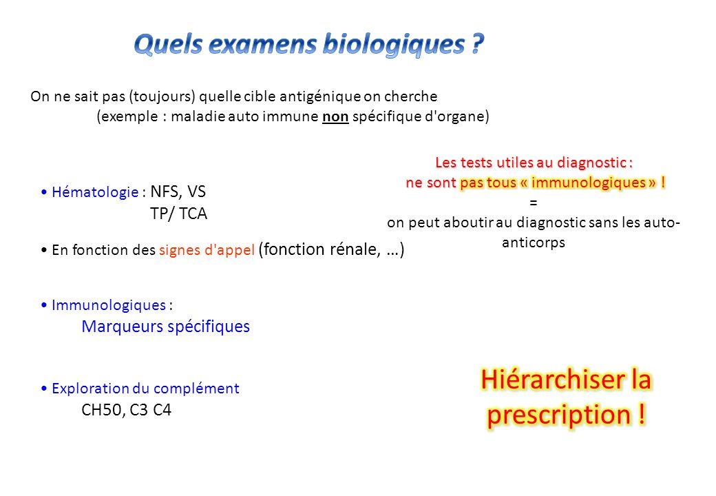 Non Spécifiques dorgane -NFS, VS, Électrophorèse des protéines (Hypergammaglobulinémie) -Retentissement fonctionnel dun organe cible (le rein, les poumons…) -une prescription limitée, une démarche hiérarchisée Spécifiques dorgane -restreindre la prescription à lessentiel (quel organe cible) - (évaluation évolution, pronostic…)