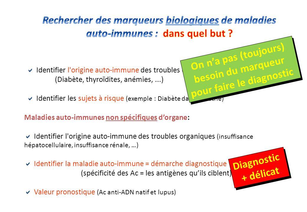Maladies auto-immunes spécifiques dorgane : Maladies auto-immunes non spécifiques dorgane: Identifier l origine auto-immune des troubles organiques (insuffisance hépatocellulaire, insuffisance rénale, …) Identifier la maladie auto-immune = démarche diagnostique (spécificité des Ac = les antigènes quils ciblent) Valeur pronostique (Ac anti-ADN natif et lupus) Diagnostic + délicat Diagnostic + délicat Identifier l origine auto-immune des troubles organiques (Diabète, thyroïdites, anémies,...) Identifier les sujets à risque (exemple : Diabète dans la fratrie) On na pas (toujours) besoin du marqueur pour faire le diagnostic On na pas (toujours) besoin du marqueur pour faire le diagnostic