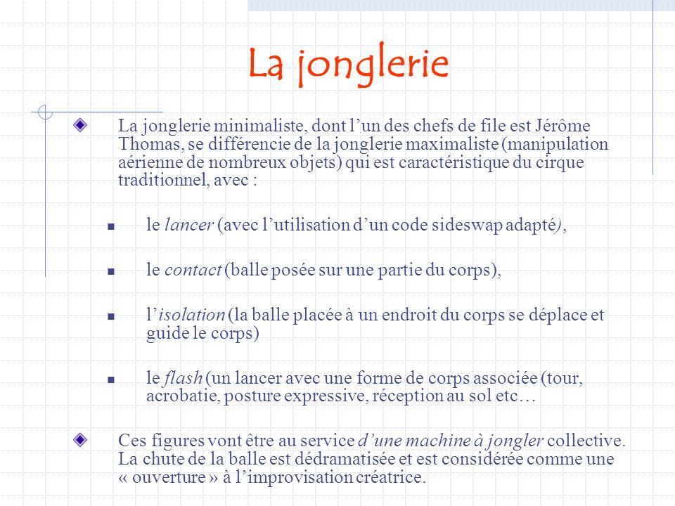 J.Coasne P.Dubois9 Aérien…(1-3-4) Flash… Isolation …Contact… Les familles choisies en jonglerie: variété des formes impliquant des modulations de tonu