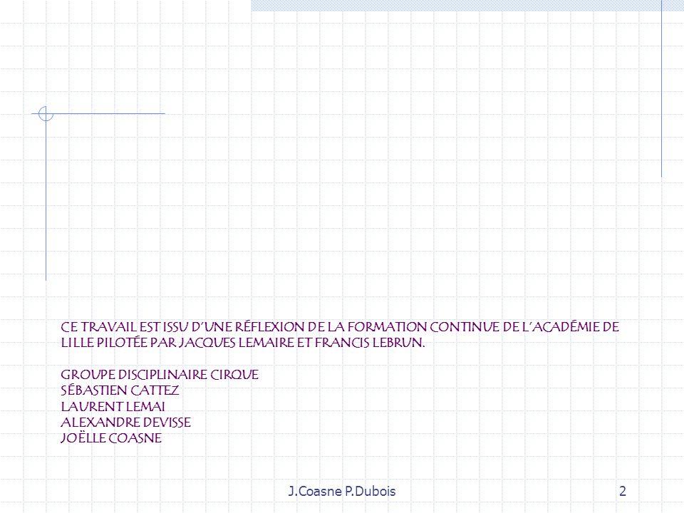 J.Coasne P.Dubois42 Lenseignant circonscrit le débat autour des contenus denseignement et objets détude et aide à la prise de parole de tous Lélève spectateur : identification des prestations autour des critères donnés.
