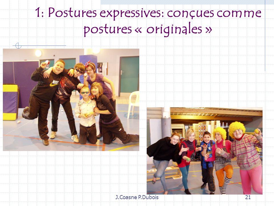 J.Coasne P.Dubois20 Corps artistique et contenus denseignement 1: Postures expressives 2: Jeu et personnage 3 : Les effets : contrastes dénergie, de v