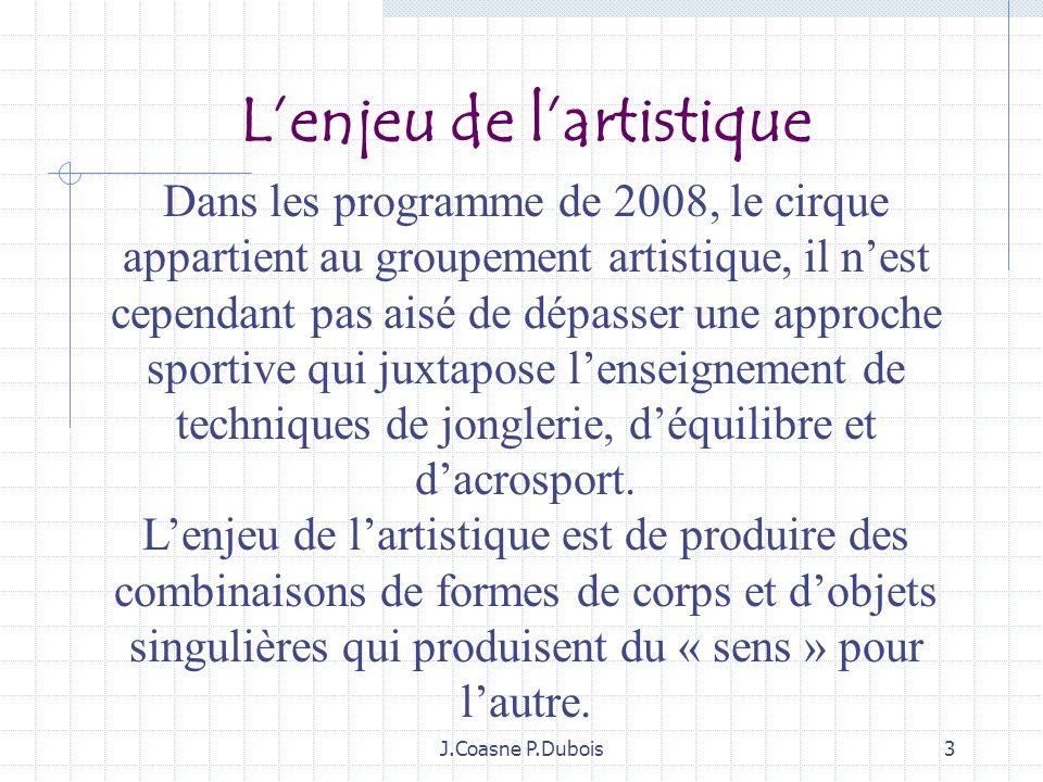 3 Dans les programme de 2008, le cirque appartient au groupement artistique, il nest cependant pas aisé de dépasser une approche sportive qui juxtapose lenseignement de techniques de jonglerie, déquilibre et dacrosport.