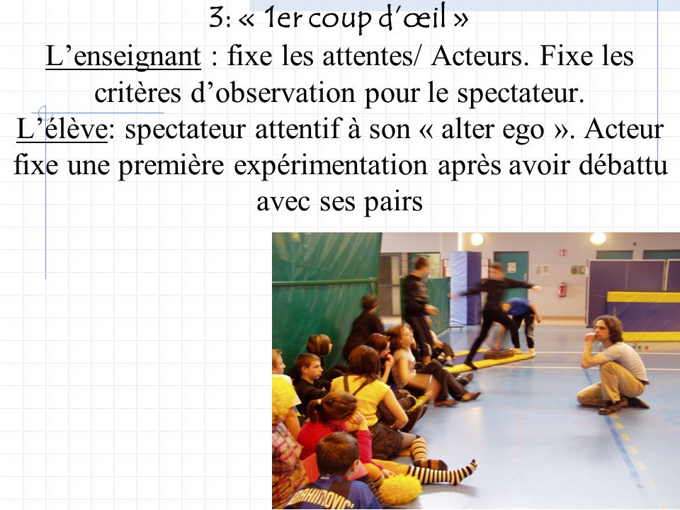 J.Coasne P.Dubois37 2: exemple Improvisations sur les circulations de corps et de balle… Lélève se confronte au problème identifié, expérimente des so