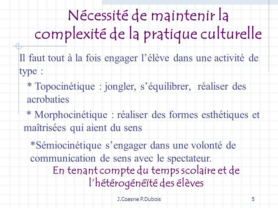 J.Coasne P.Dubois35 1: Les explications de début de séance… Lenseignant aide à identifier la complexité de lactivité : être difficile, être expressif, être engagé, être «attentif » Les différentes phases de la séance sont expliquées chronologiquement.