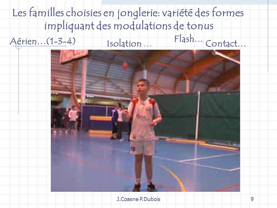 J.Coasne P.Dubois9 Aérien…(1-3-4) Flash… Isolation …Contact… Les familles choisies en jonglerie: variété des formes impliquant des modulations de tonus