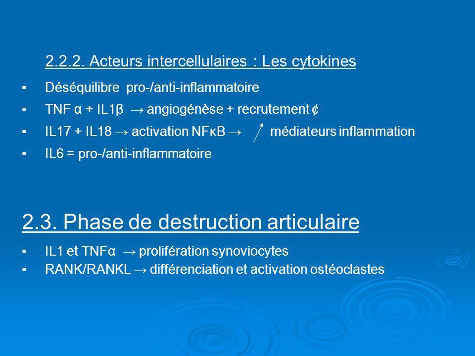 2.2.2. Acteurs intercellulaires : Les cytokinesDéséquilibre pro-/anti-inflammatoireTNF α + IL1β angiogénèse + recrutement ¢IL17 + IL18 activation NFκB