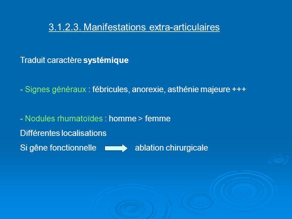3.1.2.3. Manifestations extra-articulaires Traduit caractère systémique - Signes généraux : fébricules, anorexie, asthénie majeure +++ - Nodules rhuma