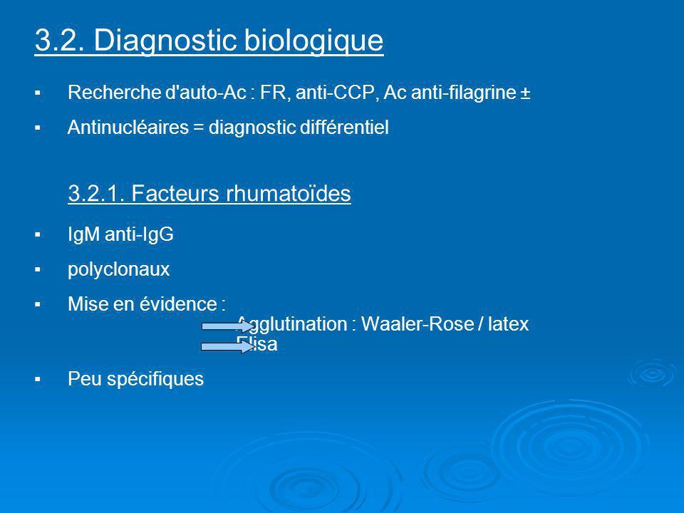 3.2. Diagnostic biologique Recherche d'auto-Ac : FR, anti-CCP, Ac anti-filagrine ± Antinucléaires = diagnostic différentiel 3.2.1. Facteurs rhumatoïde