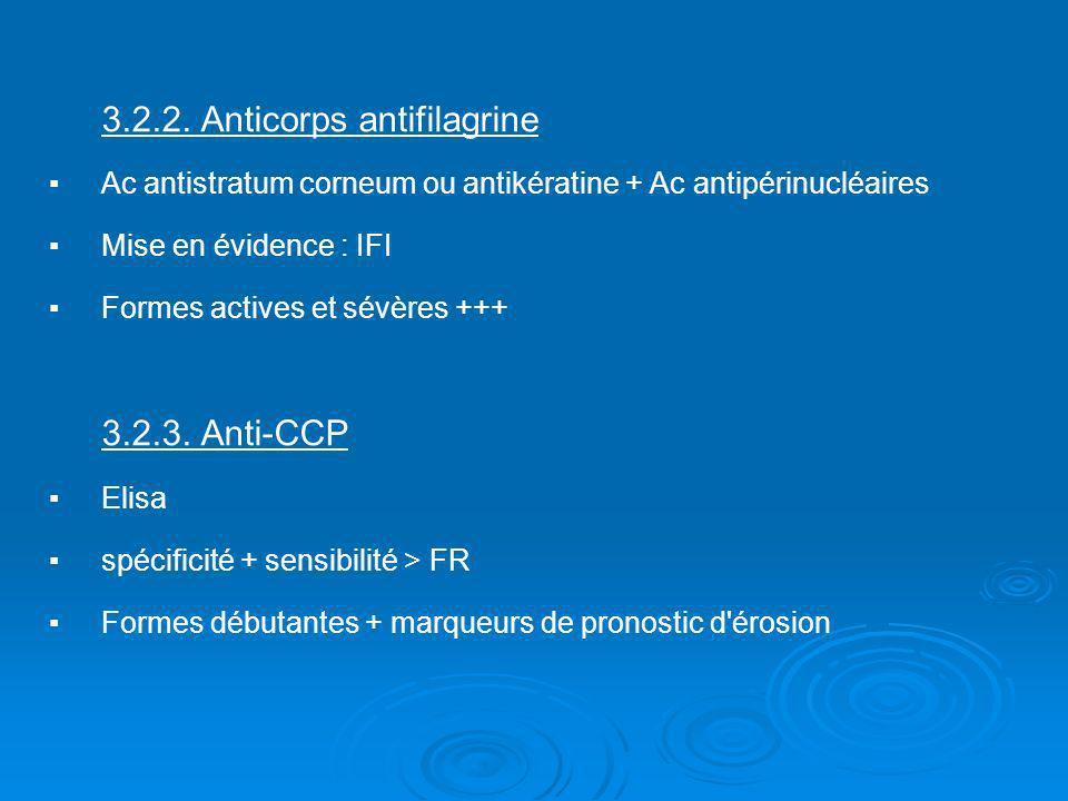 3.2.2. Anticorps antifilagrine Ac antistratum corneum ou antikératine + Ac antipérinucléaires Mise en évidence : IFI Formes actives et sévères +++ 3.2