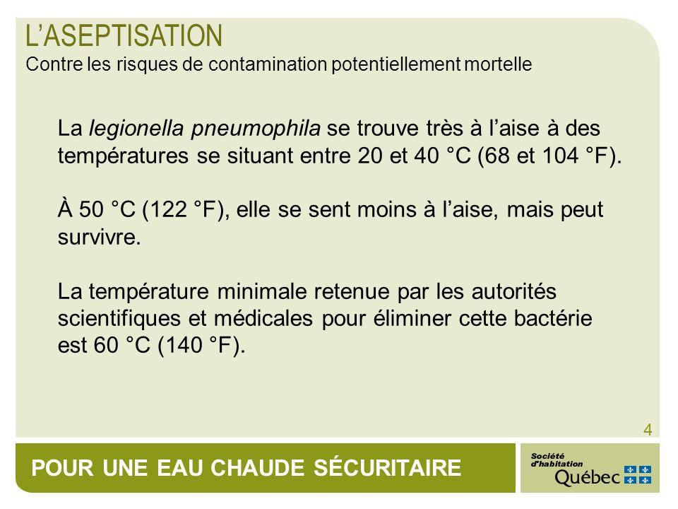 POUR UNE EAU CHAUDE SÉCURITAIRE 4 La legionella pneumophila se trouve très à laise à des températures se situant entre 20 et 40 °C (68 et 104 °F). À 5