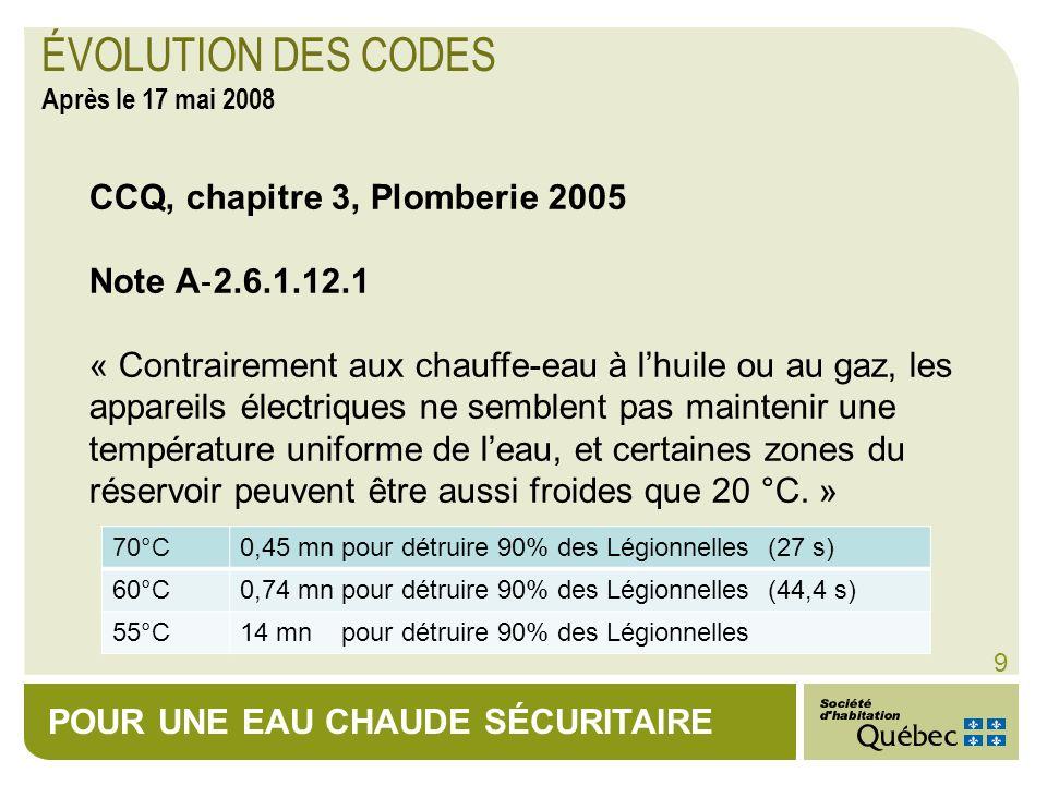 POUR UNE EAU CHAUDE SÉCURITAIRE 9 CCQ, chapitre 3, Plomberie 2005 Note A 2.6.1.12.1 « Contrairement aux chauffe-eau à lhuile ou au gaz, les appareils