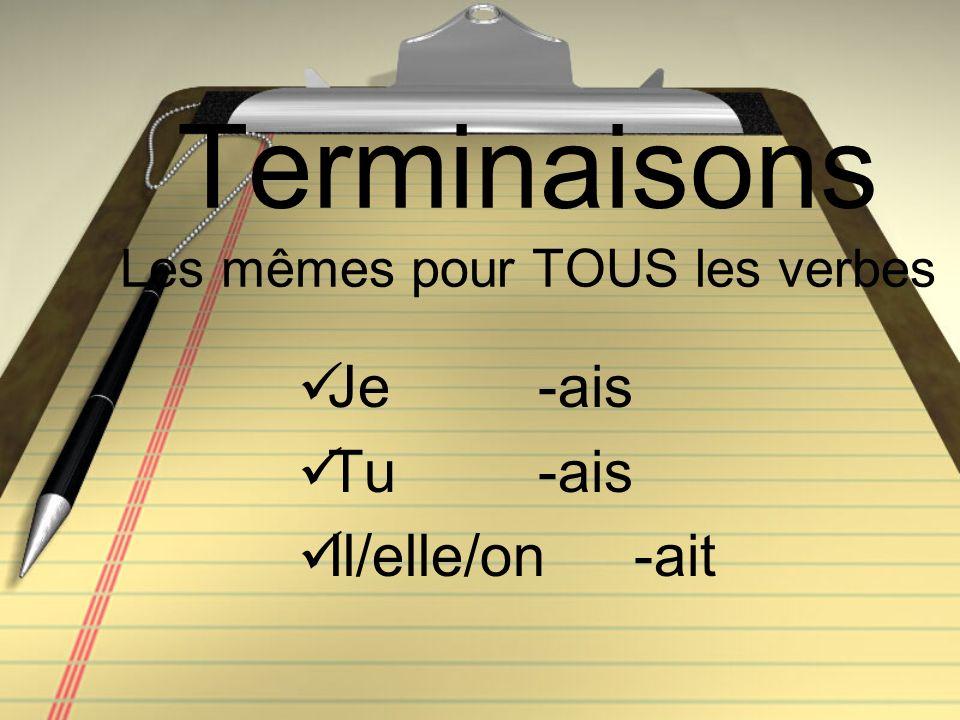 Terminaisons Les mêmes pour TOUS les verbes Je -ais Tu -ais Il/elle/on-ait