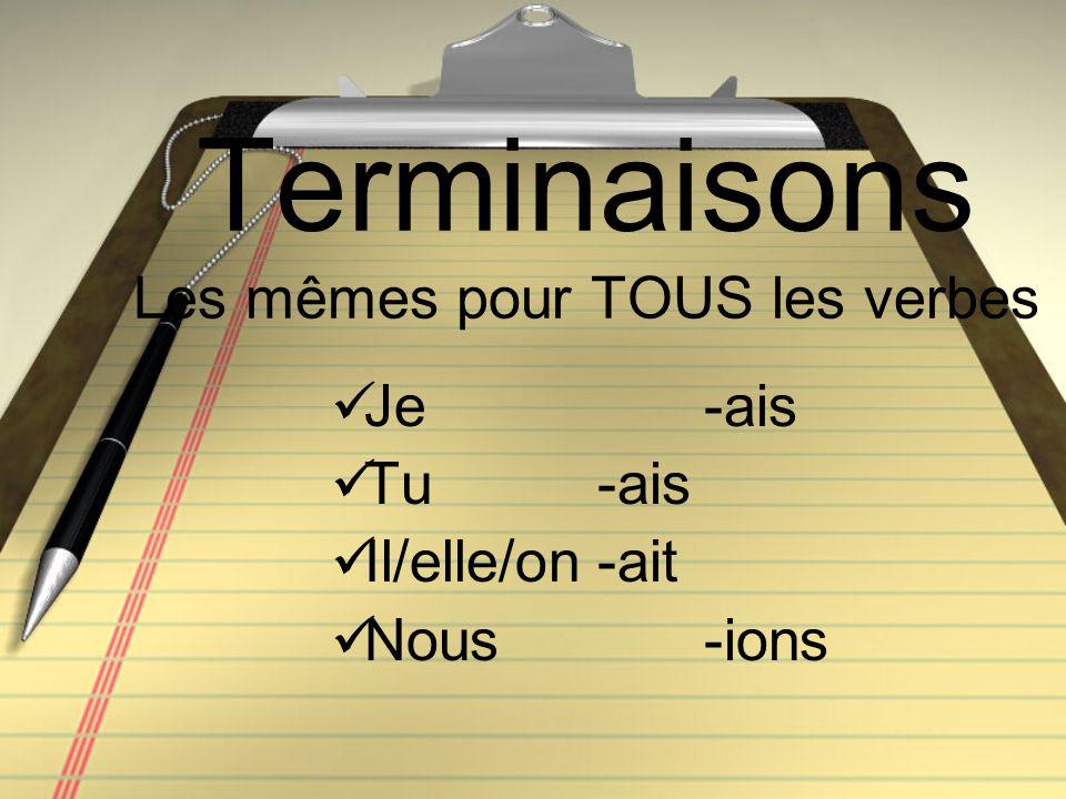 Terminaisons Les mêmes pour TOUS les verbes Je -ais Tu -ais Il/elle/on-ait Nous-ions