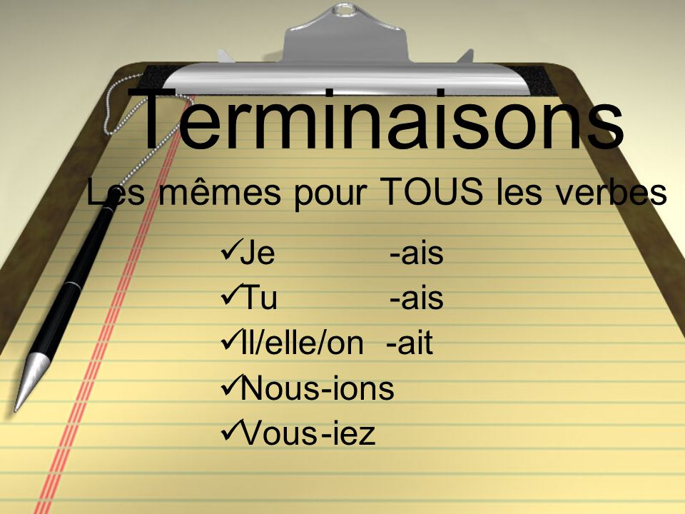 Terminaisons Les mêmes pour TOUS les verbes Je -ais Tu -ais Il/elle/on -ait Nous-ions Vous-iez