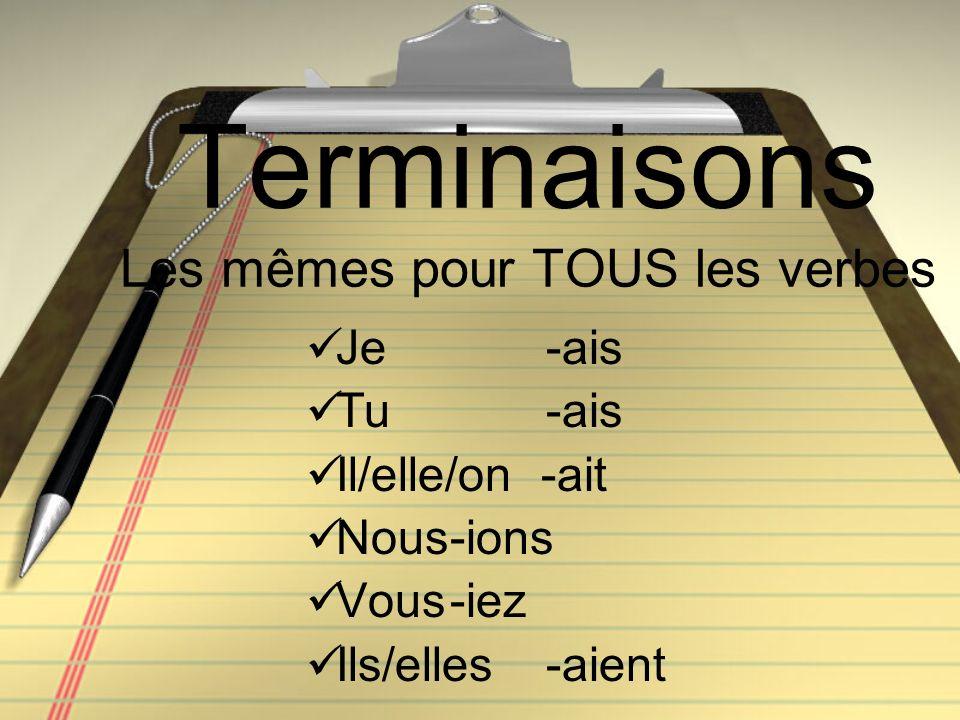 Terminaisons Les mêmes pour TOUS les verbes Je -ais Tu -ais Il/elle/on -ait Nous-ions Vous-iez Ils/elles-aient