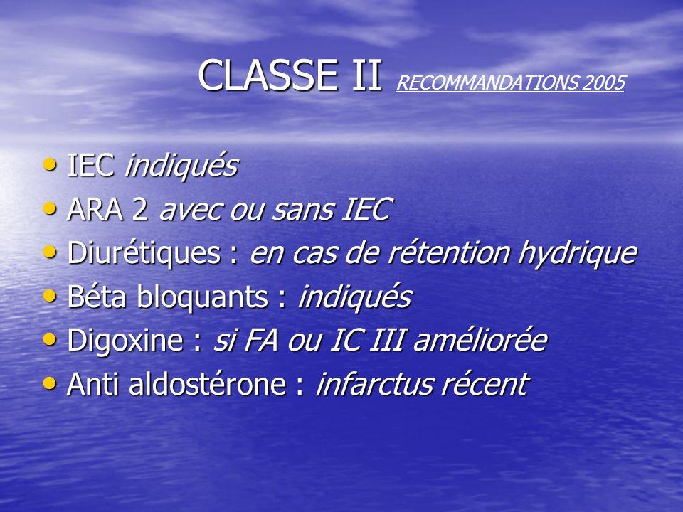 CLASSE II CLASSE II RECOMMANDATIONS 2005 IEC indiqués ARA 2 avec ou sans IEC Diurétiques : en cas de rétention hydrique Béta bloquants : indiqués Digo