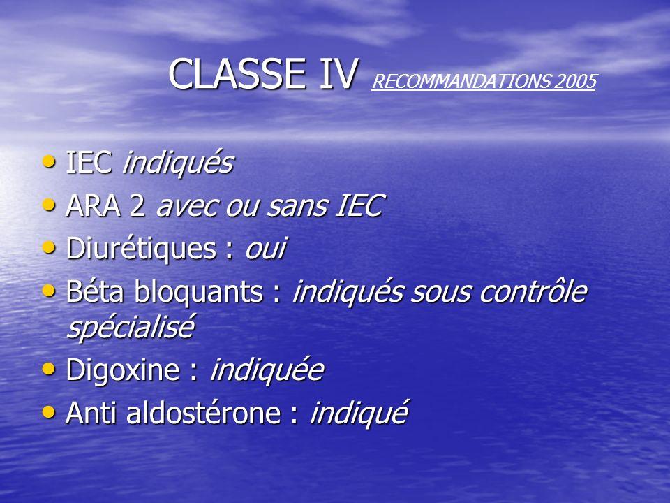 CLASSE IV CLASSE IV RECOMMANDATIONS 2005 IEC indiqués ARA 2 avec ou sans IEC Diurétiques : oui Béta bloquants : indiqués sous contrôle spécialisé Digo