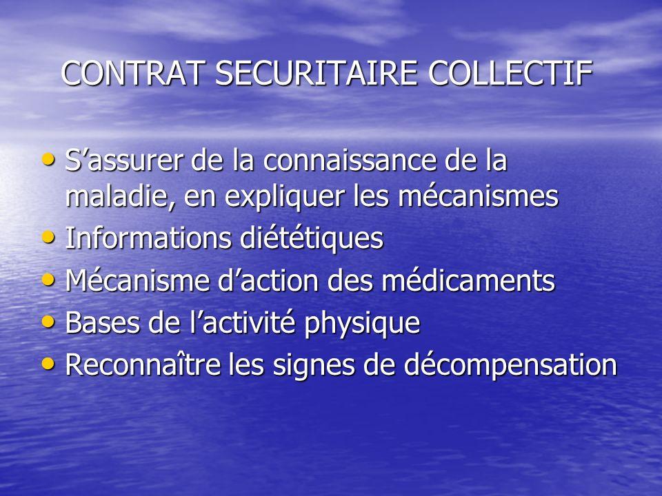 CONTRAT SECURITAIRE COLLECTIF CONTRAT SECURITAIRE COLLECTIF Sassurer de la connaissance de la maladie, en expliquer les mécanismes Informations diétét