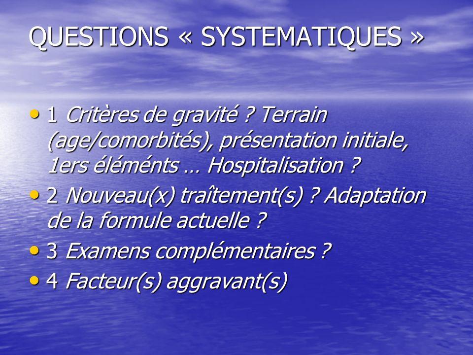 QUESTIONS « SYSTEMATIQUES » 1 Critères de gravité ? Terrain (age/comorbités), présentation initiale, 1ers éléménts … Hospitalisation ? 1 Critères de g