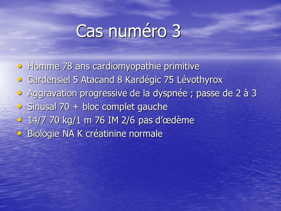 Cas numéro 3 Cas numéro 3 Homme 78 ans cardiomyopathie primitive Homme 78 ans cardiomyopathie primitive Cardensiel 5 Atacand 8 Kardégic 75 Lévothyrox