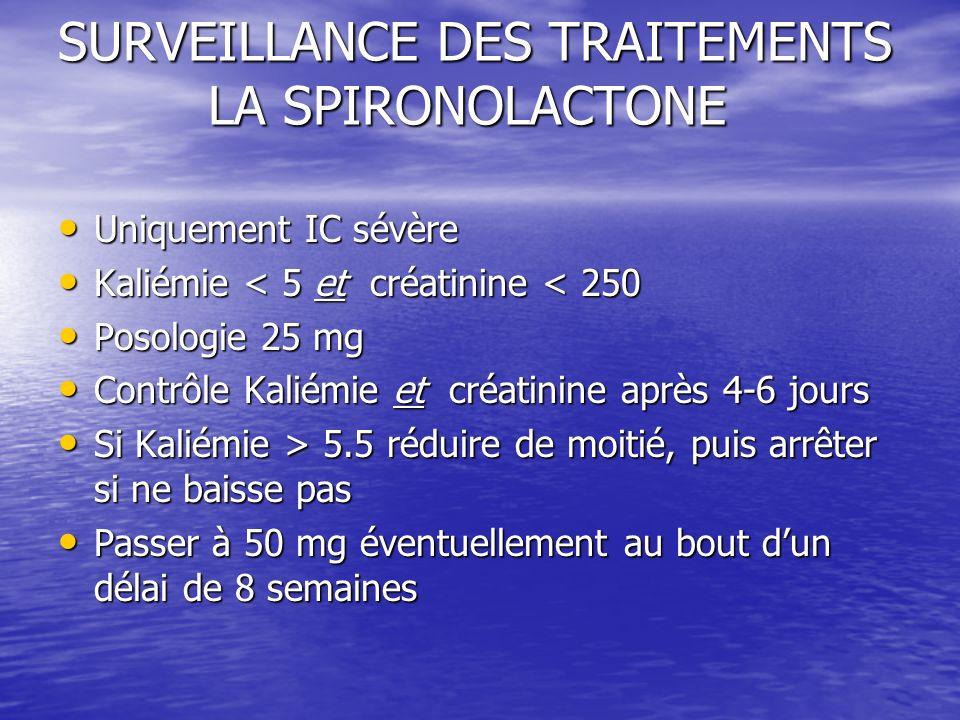 SURVEILLANCE DES TRAITEMENTS LA SPIRONOLACTONE Uniquement IC sévère Uniquement IC sévère Kaliémie < 5 et créatinine < 250 Kaliémie < 5 et créatinine <