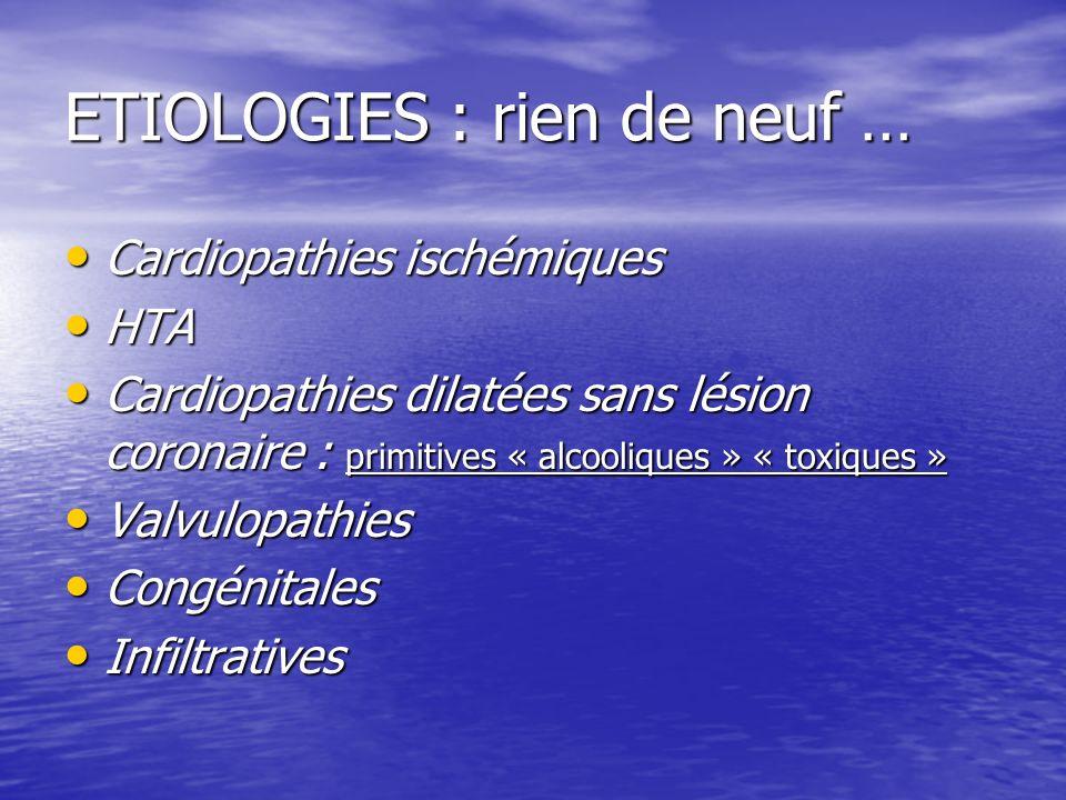 ETIOLOGIES : rien de neuf … Cardiopathies ischémiques Cardiopathies ischémiques HTA HTA Cardiopathies dilatées sans lésion coronaire : primitives « al