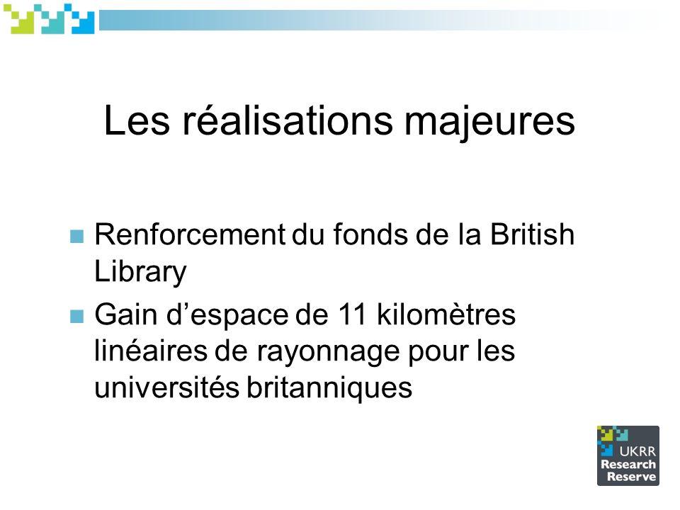 Les réalisations majeures Renforcement du fonds de la British Library Gain despace de 11 kilomètres linéaires de rayonnage pour les universités britanniques
