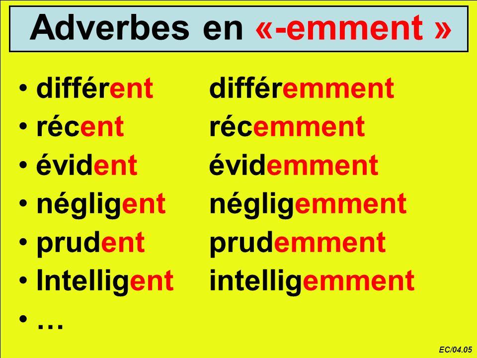 Adverbes en «-emment » différentdifféremment récentrécemment évidentévidemment négligentnégligemment prudentprudemment Intelligentintelligemment … EC/04.05