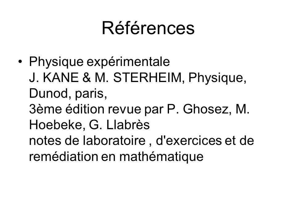 Références Physique expérimentale J. KANE & M. STERHEIM, Physique, Dunod, paris, 3ème édition revue par P. Ghosez, M. Hoebeke, G. Llabrès notes de lab