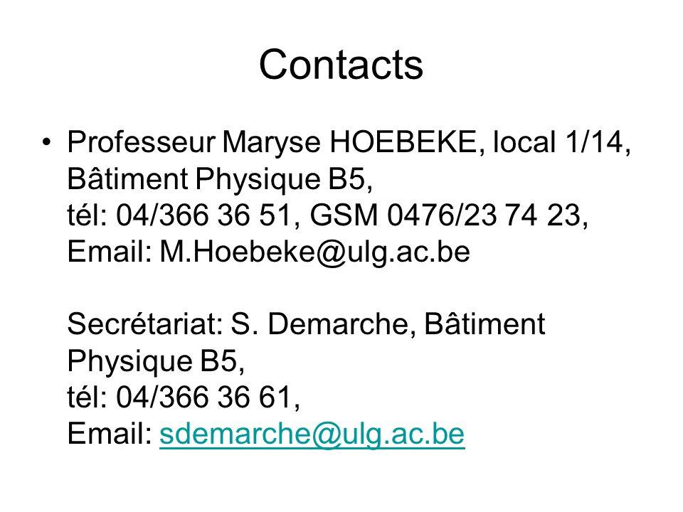 Contacts Professeur Maryse HOEBEKE, local 1/14, Bâtiment Physique B5, tél: 04/366 36 51, GSM 0476/23 74 23, Email: M.Hoebeke@ulg.ac.be Secrétariat: S.