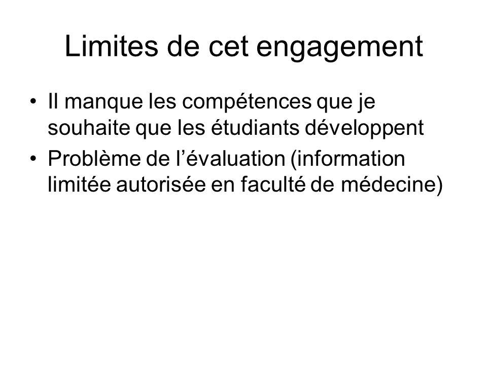 Limites de cet engagement Il manque les compétences que je souhaite que les étudiants développent Problème de lévaluation (information limitée autorisée en faculté de médecine)