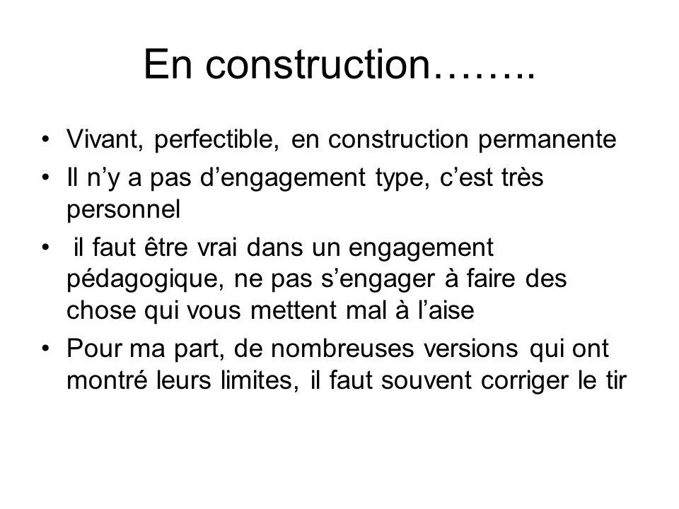 En construction…….. Vivant, perfectible, en construction permanente Il ny a pas dengagement type, cest très personnel il faut être vrai dans un engage