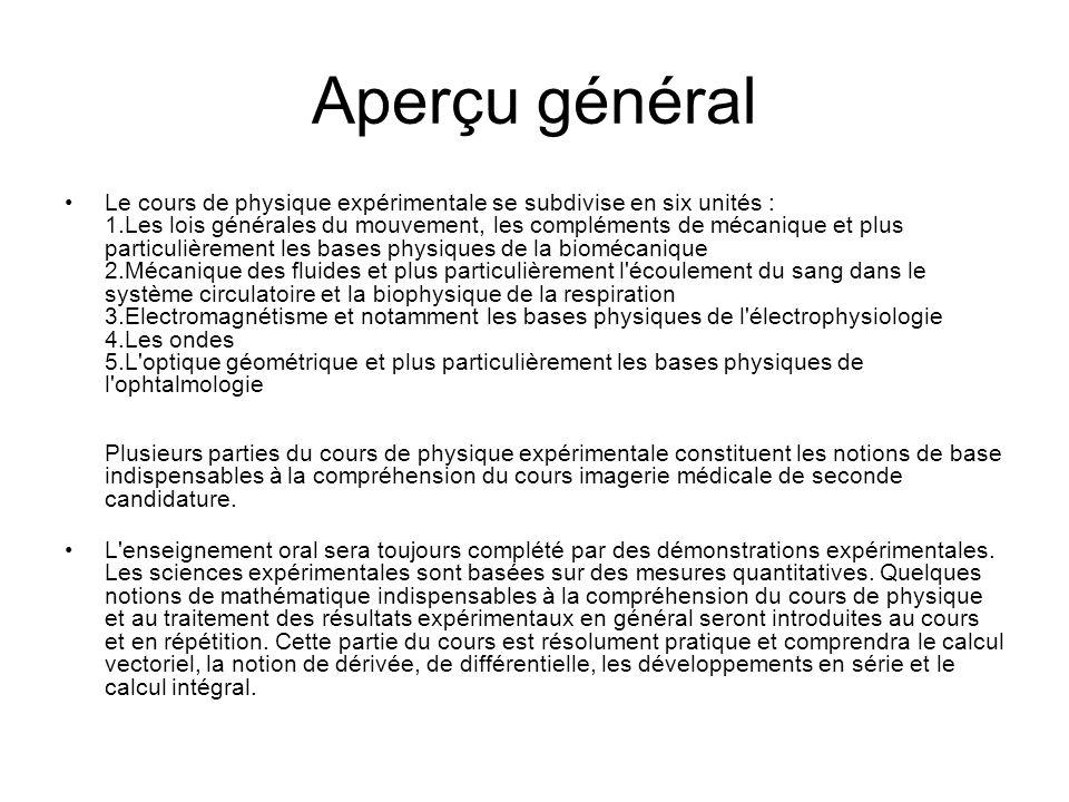 Aperçu général Le cours de physique expérimentale se subdivise en six unités : 1.Les lois générales du mouvement, les compléments de mécanique et plus