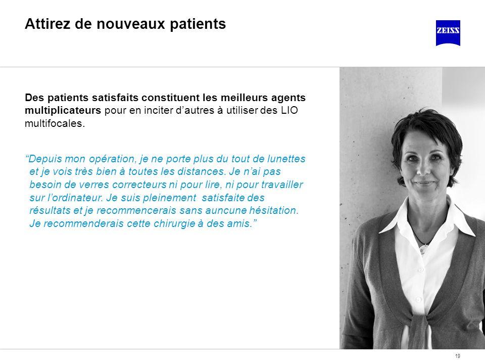19 Attirez de nouveaux patients Des patients satisfaits constituent les meilleurs agents multiplicateurs pour en inciter dautres à utiliser des LIO mu