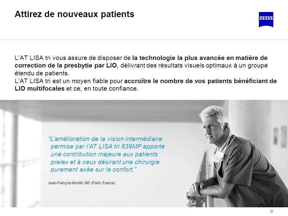 20 Attirez de nouveaux patients LAT LISA tri vous assure de disposer de la technologie la plus avancée en matière de correction de la presbytie par LI