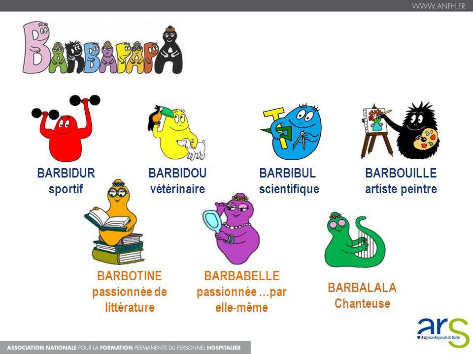 20 BARBIDOU vétérinaire BARBIBUL scientifique BARBOUILLE artiste peintre BARBOTINE passionnée de littérature BARBABELLE passionnée …par elle-même BARB