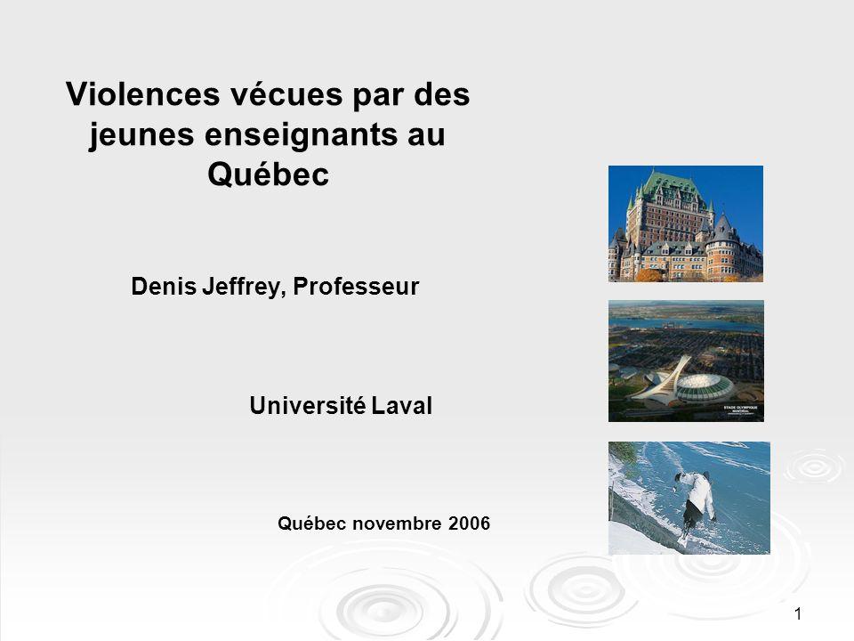 1 Violences vécues par des jeunes enseignants au Québec Denis Jeffrey, Professeur Université Laval Québec novembre 2006