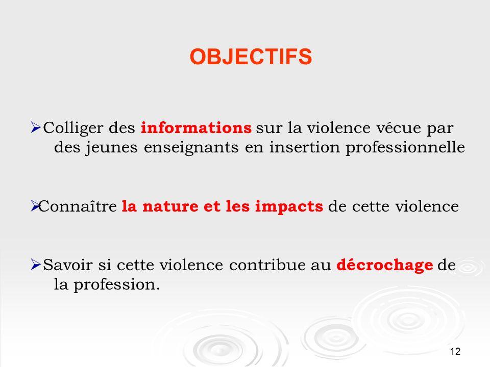 12 OBJECTIFS Colliger des informations sur la violence vécue par des jeunes enseignants en insertion professionnelle Connaître la nature et les impacts de cette violence Savoir si cette violence contribue au décrochage de la profession.