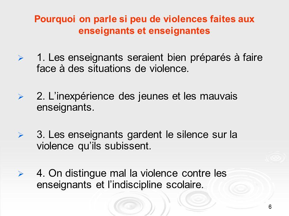6 Pourquoi on parle si peu de violences faites aux enseignants et enseignantes 1.