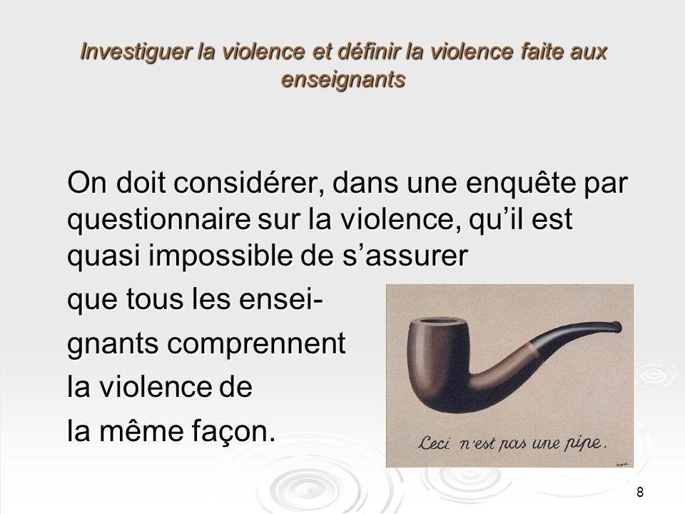8 Investiguer la violence et définir la violence faite aux enseignants On doit considérer, dans une enquête par questionnaire sur la violence, quil est quasi impossible de sassurer que tous les ensei- gnants comprennent la violence de la même façon.