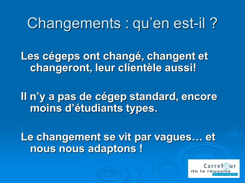 Changements : quen est-il . Les cégeps ont changé, changent et changeront, leur clientèle aussi.