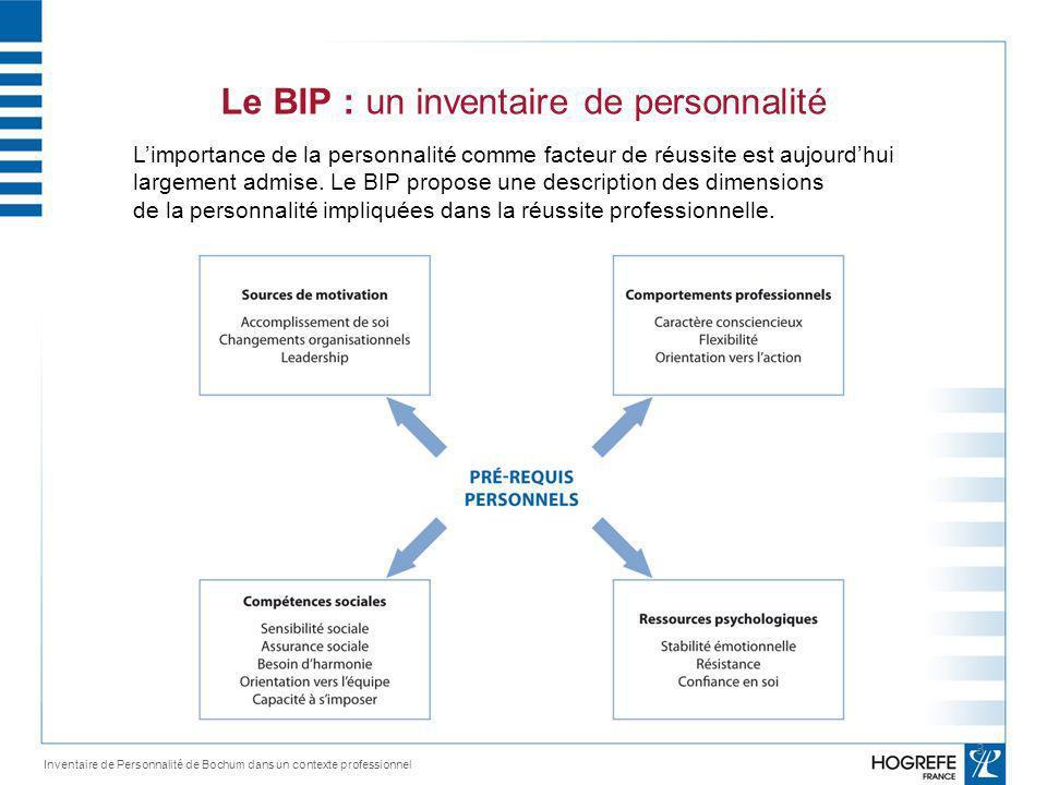 Source de motivation Inventaire de Personnalité de Bochum dans un contexte professionnel Comment la personne perçoit elle sa carrière.