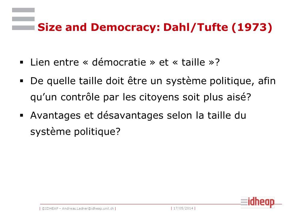 | ©IDHEAP – Andreas.Ladner@idheap.unil.ch | | 17/05/2014 | Mais: Les idées classiques des Grecs anciens, de Rousseau, et de Montesquieu de la «vraie» démocratie, et avec celles- ci les avantages des petites unités politiques nont pas complètement disparu.